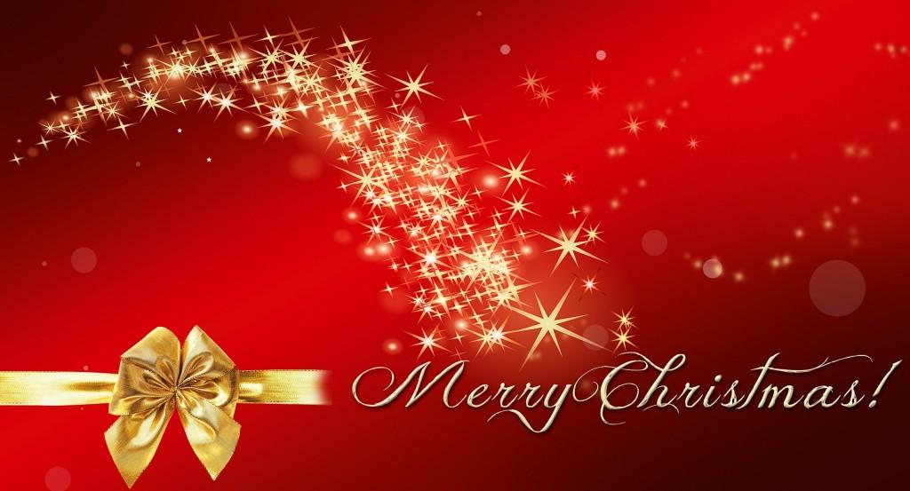 Merry Christmas - tekst på rød bunn, med stjerner