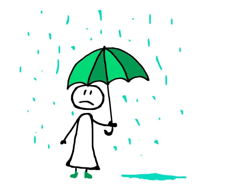 Tegneseriefigur - menneske med surt ansikt, som holder en paraply i regnet.