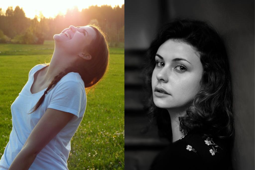 Bilde satt sammen av to bilder. På ene delen - glad kvinne i grønn eng. På den andre delen - trist kvinne i en trappeoppgang - sort/hvitt bilde.